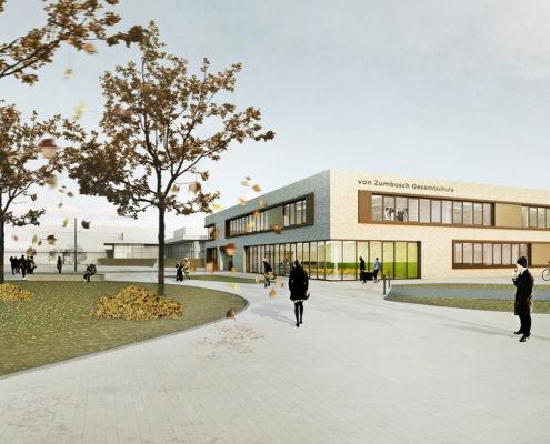 Von-Zumbusch-Gesamtschule Herzebrock Clarholz Außenperspektive, SSP Architekten Bochum, Integrale Planung