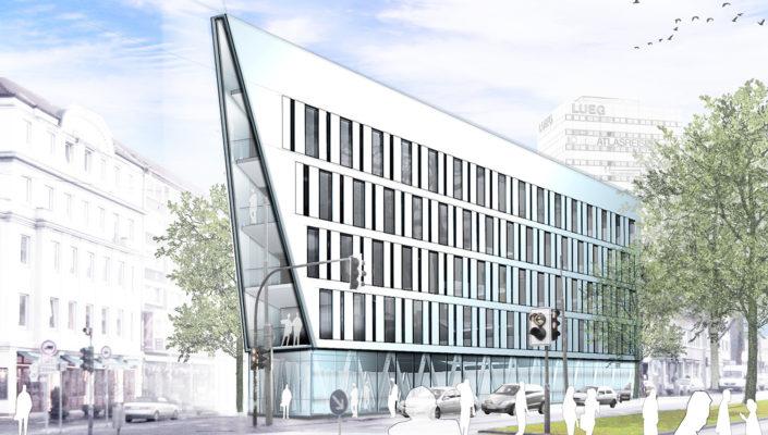 Projektstudie Kontorhaus Süd Bochum Variante Entrée, SSP Architekten Bochum