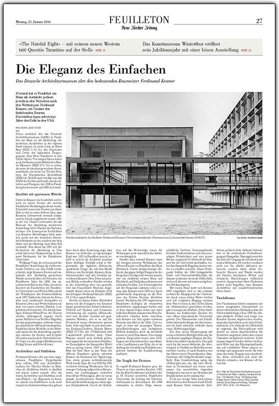 NZZ Neue Züricher Zeitung, Alte Pharmazie, Forschungszentrum BiK-F, Ferdinand Kramer, SSP Architekten Bochum