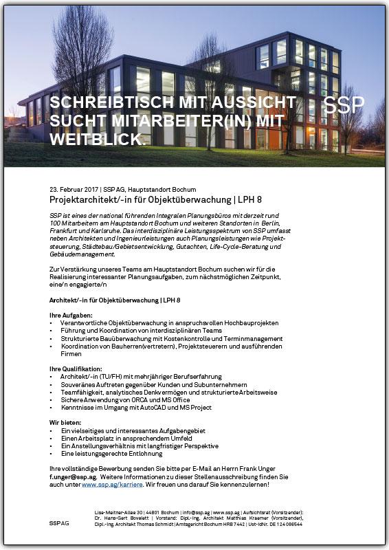 Stellenausschreibung Architekt Objektüberwachung SSP Architekten Bochum Dezember 2015