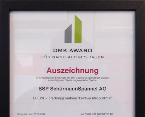 Urkunde Auszeichnung - DMK AWARD für nachhaltiges Bauen 2014