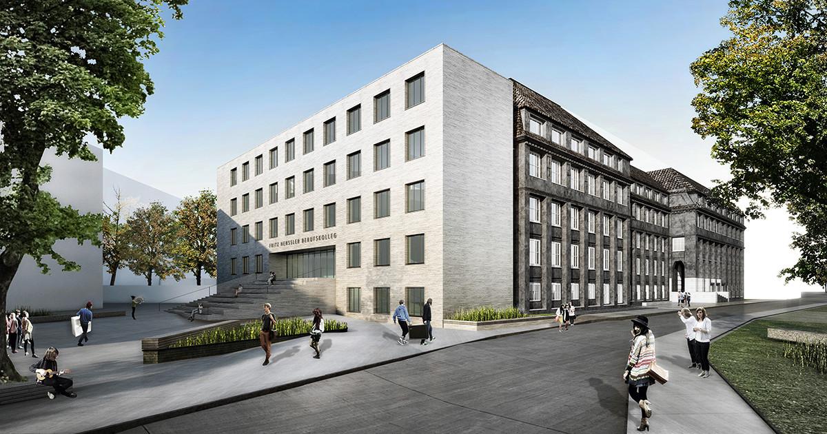 Grundsteinlegung Fritz-Henßler-Berufskolleg Dortmund, Visualisierung, SSP Architekten Bochum, Integrale Planung