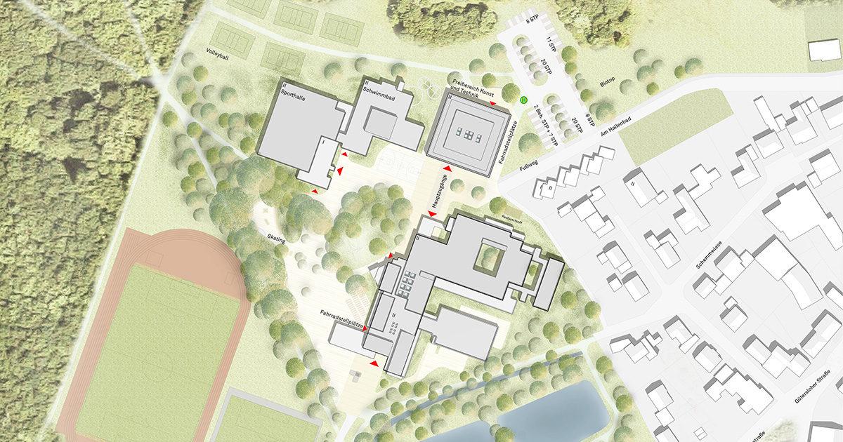 Von Zumbusch Gesamtschule Herzebrock Clarholz Lageplan, SSP Architekten Bochum